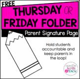 Thursday OR Friday Folder - Parent Signature Page