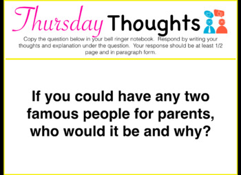 Thursday Thoughts Morning/Bell Work Keynote - FULL YEAR!