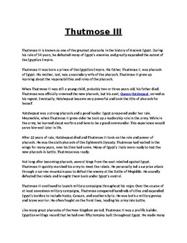 Thutmose III Article Biography and Assignment