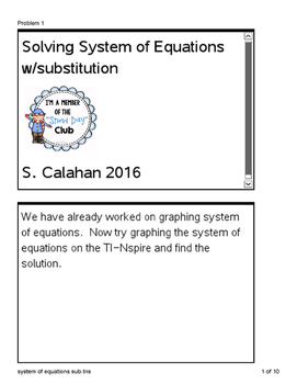 Ti-Nspire cx System of Equations w/substitution