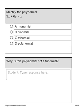 Ti-Nspire cx polynomial introduction class activity