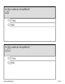 Ti-nspire simplifying radical expressions