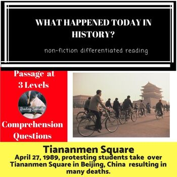 Tiananmen Square and Protest/Massacre Differentiated Reading Passage April 27