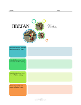 Tibetan Culture:  A Fillable Fact-Finding Sheet