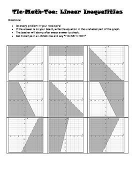 Tic-MATH-Toe: Linear Inequalities