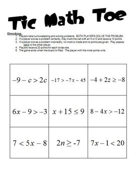 Tic-Math-Toe Inequalities Game