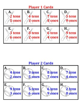 Tic-Tac-Baseball - Place Value Game - Tens and Ones