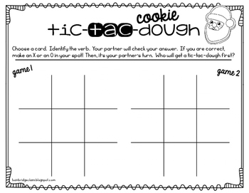 Tic-Tac-COOKIE-Dough- Identifying Verbs Game or Hall Hunt