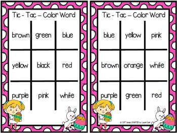 Tic-Tac-Color Word:  NO PREP Easter Themed Color Word Game