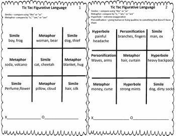Tic Tac Figurative Language