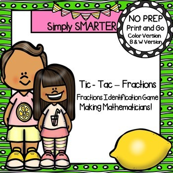 Tic-Tac-Fractions:  NO PREP Fraction Identification Game