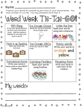Tic-Tac-GO Word Work Choice Boards (summer theme)