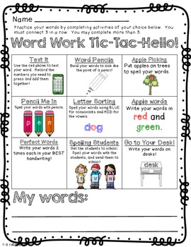 Tic-Tac-HELLO!  Word Work Choice Boards for the beginning of the year