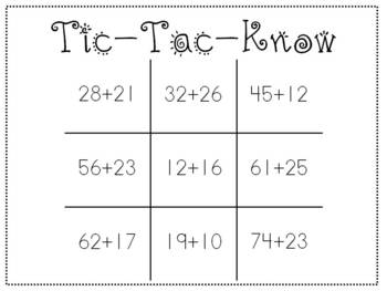 Tic-Tac-Know Addition without Regrouping