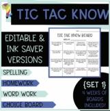 Tic Tac Know Bundle  [8 weeks of  Word Work or Spelling Homework Activities]