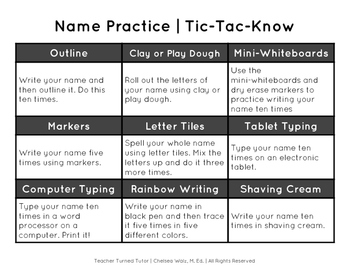 Tic-Tac-Know: Name Practice