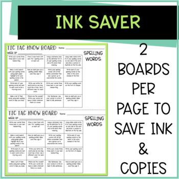 Tic Tac Know Set 1 [4 weeks of  Word Work or Spelling Homework Activities]