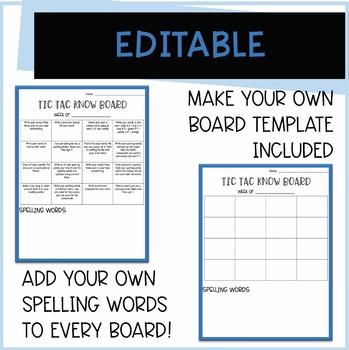 Tic Tac Know Set 2 [4 weeks of  Word Work or Spelling Homework Activities]