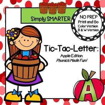 Tic-Tac-Letter:  Apple Themed No Prep Game