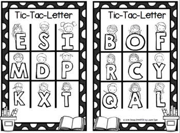 NO PREP Back To School Themed Letter Identification Tic-Tac-Toe Game