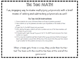 Tic Tac MATH - Operations with Polynomials