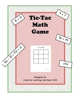 Tic-Tac-Math Review Game