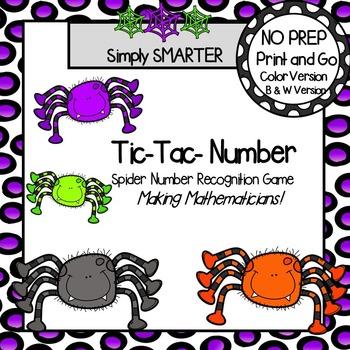 Tic-Tac-Number:  NO PREP Spider Number Recognition Game
