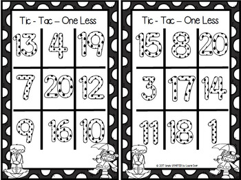 Tic-Tac-One Less:  NO PREP Spring Showers Counting Back Game