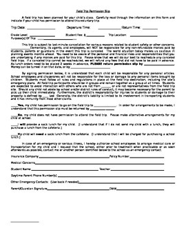 Editable Field Trip Permission Slip