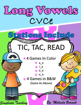 Tic Tac Read CVCe Long Vowel  a, i, o, u Reading Silent E Word Fluency Games