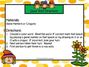 Tic-Tac-Read:  NO PREP Scarecrow Themed Color Word Game