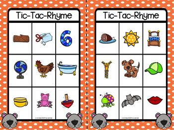 Tic-Tac-Rhyme:  Squirrel Themed No Prep Game