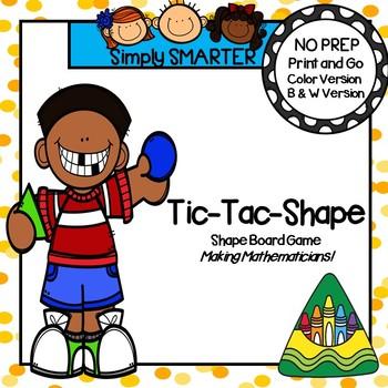 No Prep Back to School Themed Flat Shape Tic-Tac-Toe Game