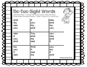 Tic Tac Sight Words (Dolch Pre Primer List)