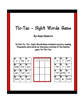 Tic-Tac-Sight Words Game