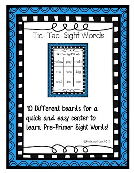 Tic Tac Sight Words -PrePrimer