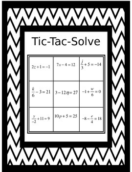 Solving two step equations Tic-Tac-Solve