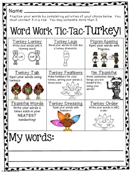 Tic-Tac-TURKEY! Word Work Choice Boards (Thanksgiving theme)