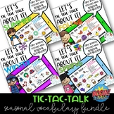 Tic-Tac-Talk Seasonal Vocabulary Games: Boom Card Distance Learning Activity