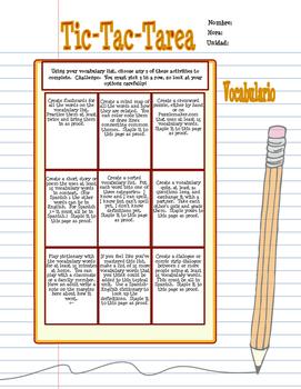 Tic-Tac-Tarea Spanish Homework Menus