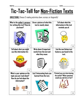 Tic Tac Tell - Choice Board for Non-Fiction Texts