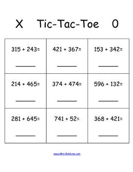 tic tac toe 3 digit addition math station game by mrs robbins tpt. Black Bedroom Furniture Sets. Home Design Ideas