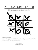 Tic Tac Toe 3 Digit Addition Math Station Game