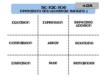 Tic-Tac-Toe 4th Grade Math Vocabulary-CCSS Aligned