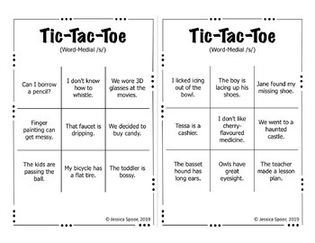 Tic-Tac-Toe: A sentence-level articulation activity for /s, z/