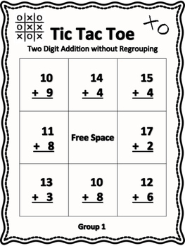 Tic Tac Toe- Adding Two Digit Numbers without Regrouping