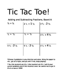 Tic Tac Toe: Adding and Subtracting Fractions and Mixed Numbers