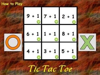 Interactive Flipchart Tic Tac Toe Addition Plus 0 through Plus 5 Math Center