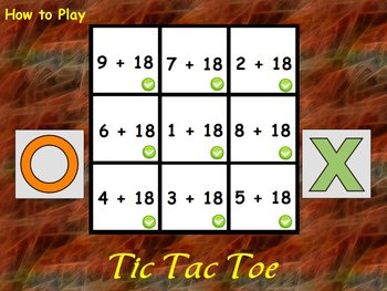 Interactive Flipchart Tic Tac Toe Addition Plus 16 through Plus 20 Math Center