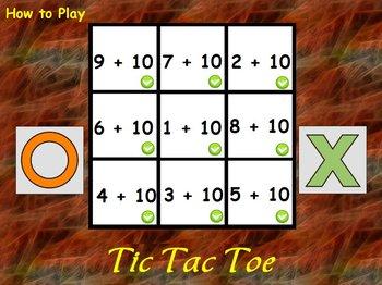 Interactive Flipchart Tic Tac Toe Addition Plus 6 through Plus 10 Math Center